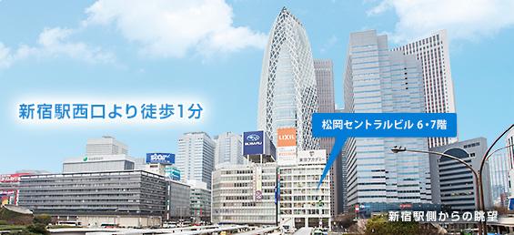 新宿駅側からみた西口ビル群